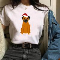 рождественская одежда для женской собаки оптовых-Женская собака Hat печати с коротким рукавом Одежда Рождеством Женщина Tshirt Женский Kawaii T Tee Shirt тенниска Женщины Топы