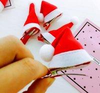 clips de sombrero rojo al por mayor-clips de Navidad roja de las horquillas de navidad sombrero Barrettes niños de los niños del pelo del casquillo de Headwear del tocado de las muchachas accesorios del pelo GGA2972-1