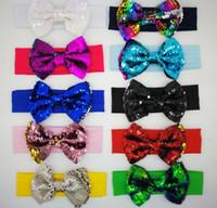 Wholesale baby girl accessories wholesale online - Baby Girl sequins Elastic Headbands Baby girl Sequins Shining Hair Bows Knot Bows hair accessories Sequin Headwear KKA6584
