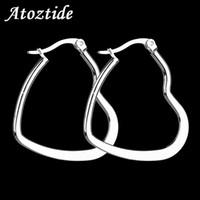 Wholesale flat hoop earrings for sale - Group buy Atoztide New Arrival Women Flat Heart Big Hoop Earrings Exaggerated Silver Color Love Loop Earrings Orecchini Cerchio