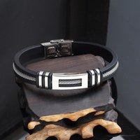 bracelets de santé de qualité achat en gros de-Cadeau populaire des hommes cadeau de haute qualité à la main 20 CM Bracelet en acier inoxydable noir de silicone de santé à vendre