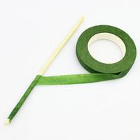 ingrosso artigianato artificiale-30Yard 12mm Stelo floreale in nastro adesivo per ghirlande Ghirlande Fiore di seta artificiale artigianale fai-da-te
