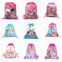 Wholesale designer cartoon fabric resale online - Baby Shark Cartoon Drawstring Bags Girl Doll Unicorn Theme Designer Backpacks Non woven School Party Gifts Storage Bag TTA1519