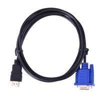 Wholesale laptop tv converter box resale online - HDMI To VGA HD Converter Cable Audio Cable Converter Male To Female GB S PVC HDMI Male To VGA Pin m For PC Laptop TV
