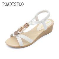 boncuk sandaletleri toptan satış-Toptan 2018 Sandalet moda yaz Bohemia Boncuklu tutam sandalet boncuk ile yumuşak rahat kadın düz Kadınlar