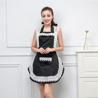 Wholesale sexy lace aprons for sale - Group buy 1 Woman Ladies Adult Retro Lace Maid Sexy Apron Dress Kitchen Household Waist Bib Cleaning BBQ Work Aprons Pink Black Red