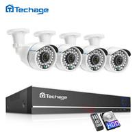 sistema de seguridad dvr 1 tb al por mayor-kit kits Techage CCTV Camera System 4CH 1080P AHD Cámara de seguridad DVR Kit IP66 Impermeable al aire libre Home Video Vigilancia Set 1TB HDD