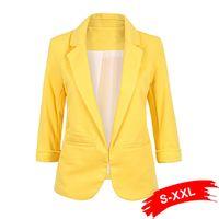 gelb plus größe blazer großhandel-Damen Plus Size Gelb Blazer Feminino Formelle Jacke Damen Weiß Blazer Weiblich Blau Damen Anzug Büro Damen 2018 J190616