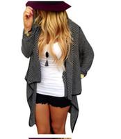 ingrosso lunghi cardigoni di lana-Cardigan lavorato a maglia femminile Cardigan femminile femminile Solido sueter irregolare Cardigan in lana a maniche lunghe Cappotto maglione outwear LJJA2824
