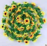 gerbera sonnenblume großhandel-240cmFake Sonnenblume Blume Reben Gerbera Daisy Blumen Pflanzen Künstliche Blume Garland Hochzeit Im Freien Wand Bacoly Tisch Kunst Handwerk DIY Deco