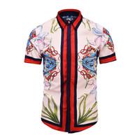 zebra baskılı erkek gömlek erkek toptan satış-Moda popüler logo gömlek erkek zebra baskı rahat ince moda T-shirt uzun kollu erkek T-shirt pamuk moda M-2XL