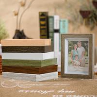 ingrosso foto di moda per il muro-Moda imitazione legno grano immagini cornici rettangolo in PVC Photo Frame resistente all'usura Home Decor forniture vendita calda 7 5ys5 BB