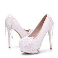 Wholesale Luxury White Lace campagus wedding shoes Stiletto platform women high heels with rhinestone large size closed toe pumps bridal shoes