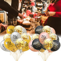 gold konfetti großhandel-Ballon Set - 15 Rose Gold Frohes Neues Jahr Muster Latex Runde Konfetti Luftballons Weihnachten Neujahr Urlaub Dekoration