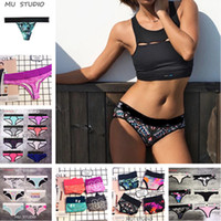 Wholesale t backs bikini resale online - 41 Colors Women Bikini Bottom Swim Hipster Briefs Floral Solid Beach Panties Sexy Beachwear Swimwear T back Designer Swimming Trunks A3102