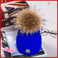Wholesale orange skull caps resale online - HOT Winter Knitted Real Fur Hat Women Thicken Beanies with cm Real Raccoon Fur Pompoms Warm Girl Caps snapback pompon beanie Hats