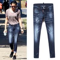 puntos de pintura jeans al por mayor-Moda-Cintura Jeans Mujer Lápiz Distined Bleach Denim Pantalones Ladies Ripped Painted Dot Slim Fit Cowboy Pants Girls