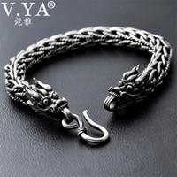 7adcca4569ad66 V.ya 8mm Dragon Head Bracelet 925 Sterling Silver 20-21cm Hand Link Chain  Bangle Solid Thai Silver Bracelets Male Men Jewelry C19021501