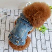 ropa para perros denim al por mayor-Eco-Friendly verano del perro de perrito del chaleco del dril de algodón chaqueta de traje mejores vaqueros de la manera ropa para perros Pequeño Grande-Azul -XS -XXL