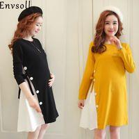 longo vestido de maternidade amarelo venda por atacado-Envsoll New M-2xl roupas de maternidade outono manga comprida de algodão grávidas vestido preto amarelo gravidez roupas para mulheres grávidas Y190522