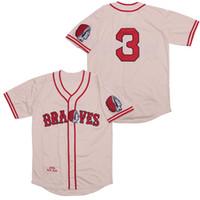 yüksek pirinç toptan satış-Babe Ruth 3. Braves 1935 Gerileme Jersey Pirinç Sarı Nakış Nefes Yüksek Kalite, Hızlı Stok Teslim