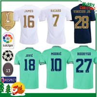 kit futbol al por mayor-19 20 Real madrid fútbol Jersey Benzema JOVIC MILITAO Modric Ramos Bale PELIGRO 2019 2020 adulto hombre mujer niños deportes Fútbol camiseta