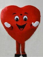 costume de coeur adulte achat en gros de-Nouvelle Profession Red Heart Mascot Costumes De Mascotte Halloween Dessin Animé Adult Fancy Party Dress