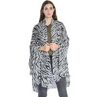 tecido de zebra venda por atacado-Moda Estampa de Leopardo Protetor Solar Xaile Zebra Stripe Chiffon Infinito Cachecol Mulheres Tecer Tecer Manter Quente Lenço