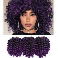 afro kinky curl saç uzantıları toptan satış-Sıcak! 1 Paketi Jamaikalı Sıçrama Tığ Saç Değnek Kıvırmak Sentetik Saç Tığ Örgü Siyah Kadınlar Için 8 Inç Afro Kinky Örgü Saç Uzantıları
