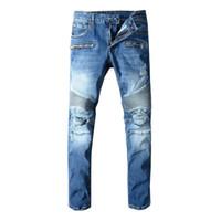 ingrosso jeans plaid patchwork-Mens Afflitto Strappato Biker Jeans Formato DEGLI STATI UNITI 29 ~ 42 Slim Fit Motociclista Biker Denim Per Gli Uomini Fashion Designer Hip Hop Uomini Jeans di Buona Qualità