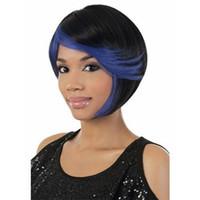 en sıcak kadın peruk toptan satış-Yeni Sıcak Satış Resimler Renkli Saç saç Kısa Mavi Siyah Peruk Afrikalı Amerikalı Kadın Peruk Bangs Sentezi