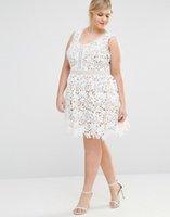 vestidos gala se pierde al por mayor-Nueva llegada Encaje Tallas grandes Vestidos de baile Escote en V Una línea Vestido formal Hasta la rodilla Vestidos de noche cortos