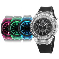 Wholesale geneva quartz watches online - Mens Geneva diamond stone crystal colors led light watch unisex silicone jelly candy fashion flash up backlight quartz watches