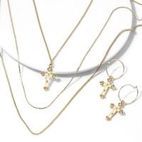 Wholesale religion pendants resale online - Trendy Gold Color Religion Jewelry Cross Pendant Necklaces Earrings Sets Women Men Minimalism Statement Jewelry Ear Accessories
