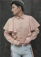 ropa de talla más al por mayor-S-6XL 2019 Nueva ropa para hombres Estilista Original de diseño independiente de la calle Prince Wind Bandage Shirt más trajes de talla para el escenario