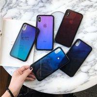 iphone gafas de colores templados al por mayor-Estuche de teléfono Aurora color degradado de lujo para iphone x xr xs máx 7 8 estuches Plus Ultra Thin Soft TPU Tempered Glass Covers