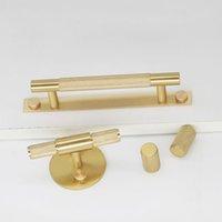 ingrosso maniglie della barra degli armadi-Brass Kitchen Cabinet Handle tiri del cassetto Cucina Bagno Mobili Maniglia e manopole Dresser Porta tira con viti in ottone T bar