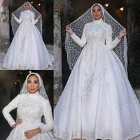 boda musulmán del cordón al por mayor-Vestidos de boda de encaje clásico musulmán 2019 Manga larga Cuello alto Apliques Mangas largas Vestidos de novia de encaje Una línea de tren de barrido Vestido De Novia