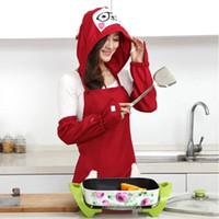 delantal de la moda coreana al por mayor-Cocina delantal con mangas de forma creativa coreana linda delantal adulto impermeable y resistente al aceite delantal de cocina femenina con sombrero