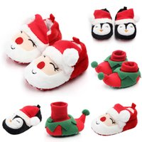 Wholesale baby santa shoes resale online - Baby Christmas Shoes Newborn Warm Snow Shoes Infant Soft Sole Slipper Crib First Walkers Toddler Cute Santa Claus Penguin Shoes RRA1872