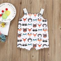 trajes para niñas pequeñas al por mayor-Ropa de bebé 2019 New Summer Toddler Infant Newborn Baby Girls Boys Romper 0-24M Sin mangas de dibujos animados Monos de animales Traje de sol Traje Traje