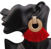 ingrosso grandi orecchini di cerchio rosso-Nuovi orecchini etnici lunghi dorati dell'annata del cerchio del nappa femminile Maxi filo di seta Bohemian Red Geometry Grandi orecchini per il regalo dei monili delle donne