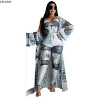2020 Summer Women 3 Pieces Sets Summer Tracksuits Bodysuits+Pants+Coat 3 pcs Leggings Dollar Print Suit Fitness Outfit GL1229