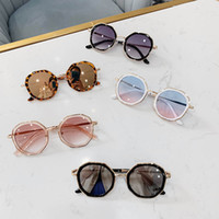 ultraviyole camlar toptan satış-Yeni Moda çocuk güneş gözlüğü leopar baskı kız güneş gözlüğü ultraviyole geçirmez çocuk gözlük erkek gözlük tasarımcı aksesuarları A6815