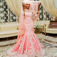 rosa hemdknöpfe großhandel-African Pink dinMuslim Meerjungfrau-Wedg-Kleider mit halbärmeligem appliziertem nigerianischem Brautkleid mit Knöpfen bedeckt Arabische Damenkleider