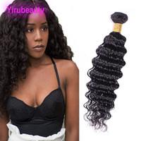 siyah kıvırcık saç toptan satış-Perulu İşlenmemiş İnsan Saç Uzantıları Doğal Siyah 8-28 inç Derin Dalga Kıvırcık Bakire Saç Demetleri Tek Parça / lot Saç Atkı