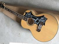 Wholesale hollow body acoustic online - Factory outlet guitar SJ200 ELVIS presley acoustic guitar natural wood jumbo Acoustic guitar natural tiger maple neck body