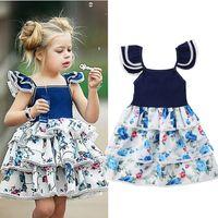 bebek mavi dantel gelinlik toptan satış-Bebek Çocuk Kız Çiçek Mavi Elbiseler Dantel Katmanlar Prenses Tutu Elbise Fırfır Çocuklar Kız Kolsuz Düğün Pageant Gömlek Giysi
