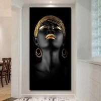Wholesale art panels for wall resale online - Canvas Prints Modern Black Woman Model Painting Wall Art Poster and Prints Pictures Home Decoration for Living Room No Frame