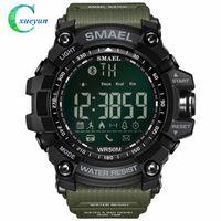 зеленые часы оптовых-50Meters плавать платье спортивные часы Smael Марка армия зеленый стиль Bluetooth Ссылка смарт-часы мужчины цифровой Спорт мужские часы 1617B